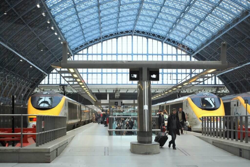 Eurostar trains at St Pancras International